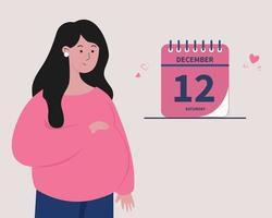 ilustração do conceito de data de previsão de nascimento ou data de vencimento da gravidez vetor