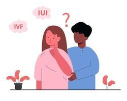 o casal fica confuso quanto à escolha da inseminação artificial. vetor