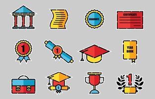 conjunto de ícones coloridos de formatura vetor