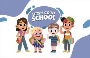 quatro alunos juntos indo para a escola vetor
