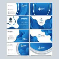 cartão de visita da empresa nas cores azul e branco vetor