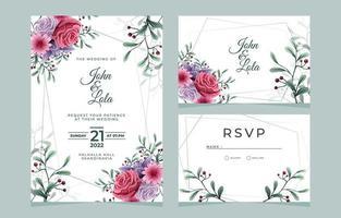 pacote de papelaria de casamento floral vetor