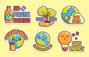 coleção de adesivos do dia da terra vetor