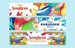 Conjunto de faixa do festival feliz songkran respingos de água vetor
