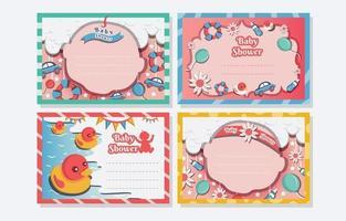 modelo de cartão de chá de bebê bornday vetor