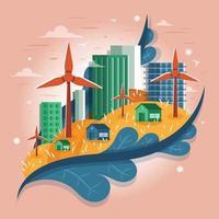 tecnologia eco-verde na cidade com moinho de vento vetor