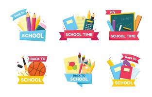 conjunto de adesivos de volta às aulas vetor