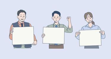 três funcionários de escritório estão com papel branco. mão desenhada estilo ilustrações vetoriais. vetor