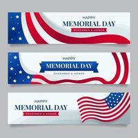 coleção de banners do dia do memorial com fundo branco