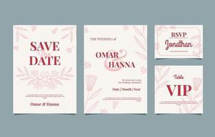 conjunto de casamento floral desenhado à mão vetor