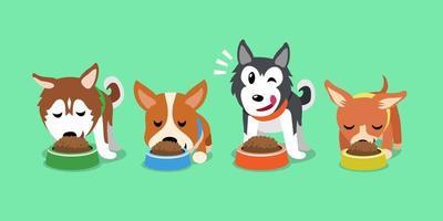 vector cartoon cães fofos com tigelas de comida