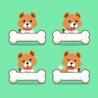 personagem de desenho animado cachorro fofo com ossos grandes vetor