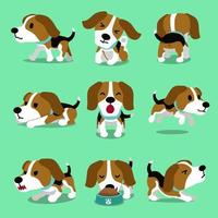 personagem de desenho animado cachorro beagle posa vetor