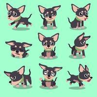 personagem de desenho animado chihuahua poses de cachorro vetor