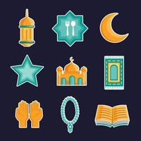 ícone de saudação da temporada eid vetor