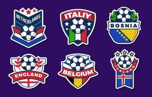 adesivo de várias iterações do campeonato europeu de futebol vetor