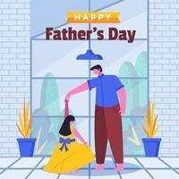 pai e filha dançando uma linda dança juntos vetor