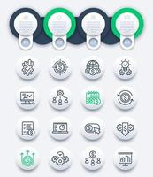 Infografia de finanças e negócios com ícones de linha vetor