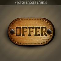 etiqueta de oferta de couro vetor