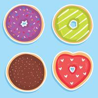 Vetor de coleção de donuts saborosos