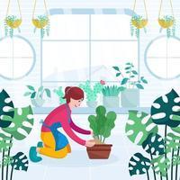 mulher cuidando de plantas em casa conceito vetor