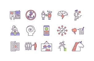 pensamento e criatividade conjunto de ícones de cores rgb vetor