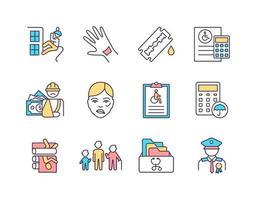 conjunto de ícones de cores rgb de seguro de invalidez vetor