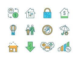 conjunto de ícones de cores de hipotecas rgb vetor