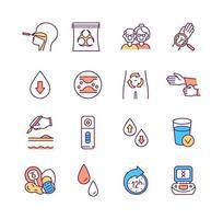 conjunto de ícones de cores rgb de pesquisa e diagnóstico de laboratório vetor
