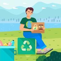 Reciclagem de campanha de homem e conceito de estilo de vida verde vetor