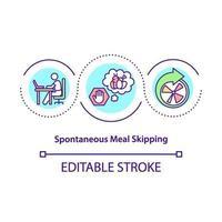ícone de conceito de pular refeição espontânea vetor