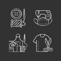 ícones de giz branco de alteração de roupas em fundo preto vetor