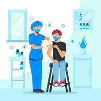 conceito de vacinação contra coronavírus vetor