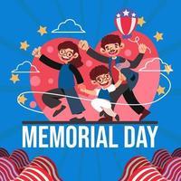 família feliz comemora o dia do memorial vetor