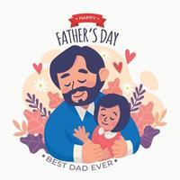 conceito do dia dos pais com pai e filha vetor