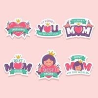 conjunto de adesivo de feliz dia das mães vetor