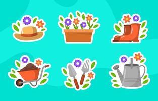 coleção de adesivos de jardinagem ecológica vetor