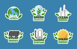 coleção de adesivos de tecnologia eco verde vetor