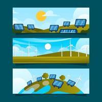 coleção de banners de tecnologia plana eco verde vetor