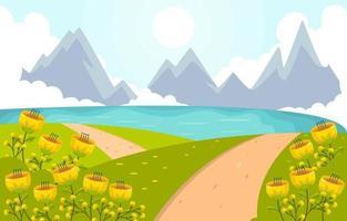 paisagem de primavera com fundo de flor amarela vetor
