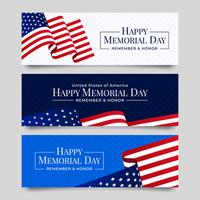 coleção de banner do dia do memorial com bandeira dos EUA vetor