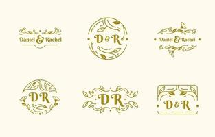 monograma de casamento elegante vetor