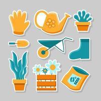 Conjunto de pacote de adesivos de design plano simples para jardinagem vetor