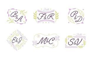 conjunto de logotipo de monograma de casamento vetor