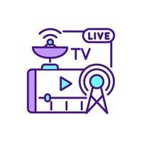 serviço de streaming de tv ícone de cor rgb vetor