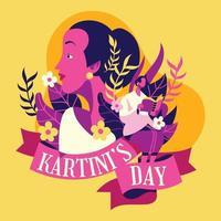 figura da emancipação do kartini day indonesia vetor