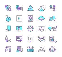 conjunto de ícones de cores rgb de nova mídia vetor