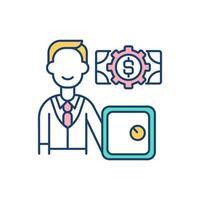 ícone de cor rgb da conta bancária vetor