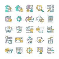 conjunto de ícones de cores rgb de gestão financeira vetor