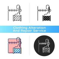 ícone linear preto de conserto de bainha e costura vetor